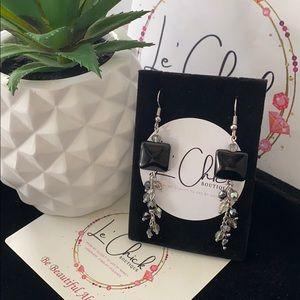 Handmade Silver Earrings- Black